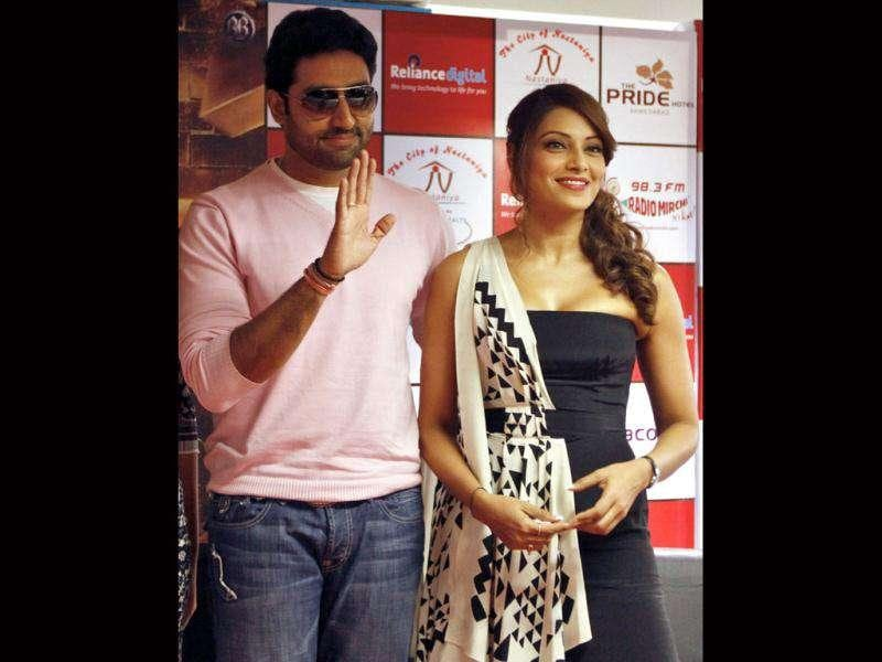 Abhishek Bachchan and Bipasha Basu during the promotional event in Ahmedabad on Dec 28.