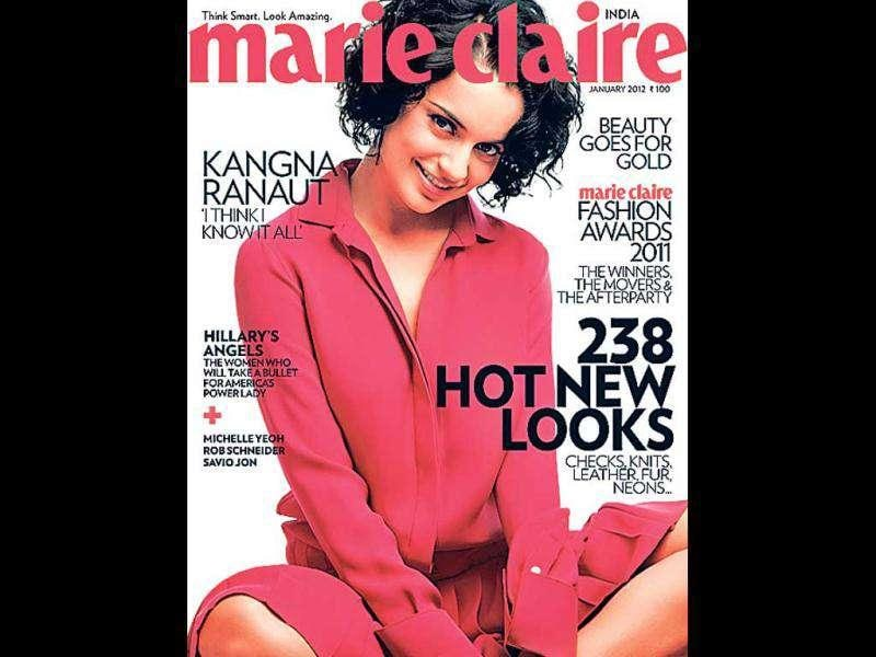 Fasionista Kangna Ranaut in a fuchsia shirt-dress on the cover of Marie Claire.