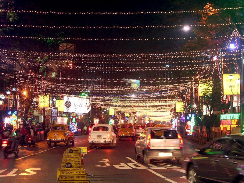 Park Street in Kolkata all decked up to ring in the New Year.