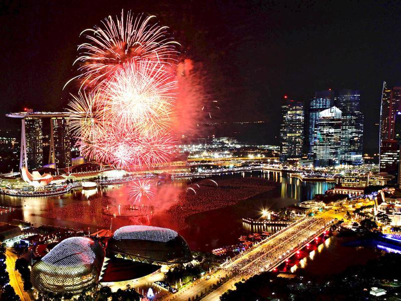 Fireworks explode over Marina Bay during New Year celebrations in Singapore. Reuters Photo