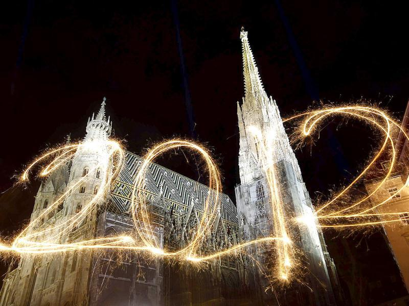 The number 2012 is written with sparklers during a long exposure in front of St. Stephen's Cathedral (Stephansdom) during New Year's Eve celebrations in Vienna. Reuters Photo