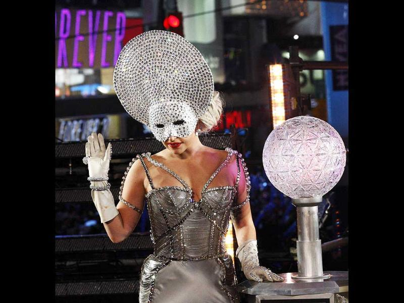 Singer Lady Gaga performs during New Year's Eve celebrations in Times Square in New York. Reuters/Eduardo Munoz.