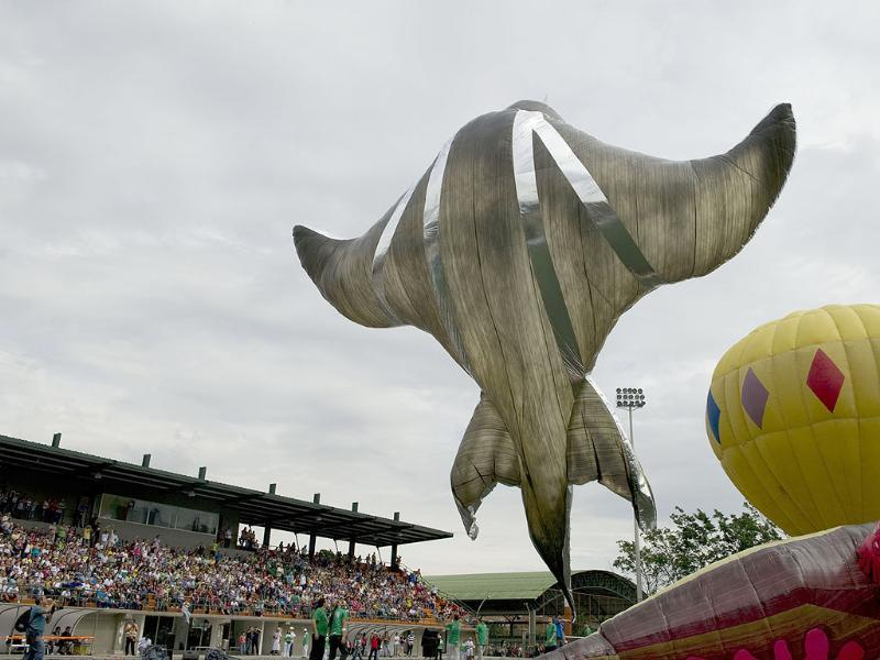 A solar balloon in the shape of an alien is seen at the Sabaneta Municipality's stadium, southern Medellin, Colombia. AFP Photo