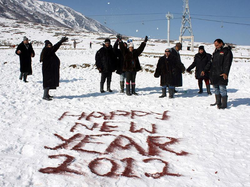 Tourists from across the country celebrate New Year at Kangdoori skiing resort of world famous Gulmarg in north Kashmir.