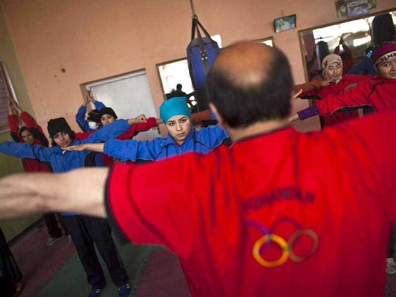 Afghan women practise inside a boxing club in Kabul. Female boxing is still relatively unusual in most countries, but especially in Afghanistan, where many girls and women still face a struggle to secure an education or work, and activists say violence and abuse at home is common. REUTERS