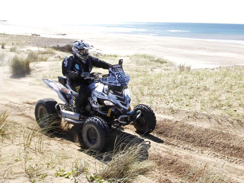 Josef Machacek of the Czech Republic rides his Yamaha quad during the first stage of the fourth South American edition of the Dakar Rally from Mar Del Plata to Santa Rosa de la Pampa.