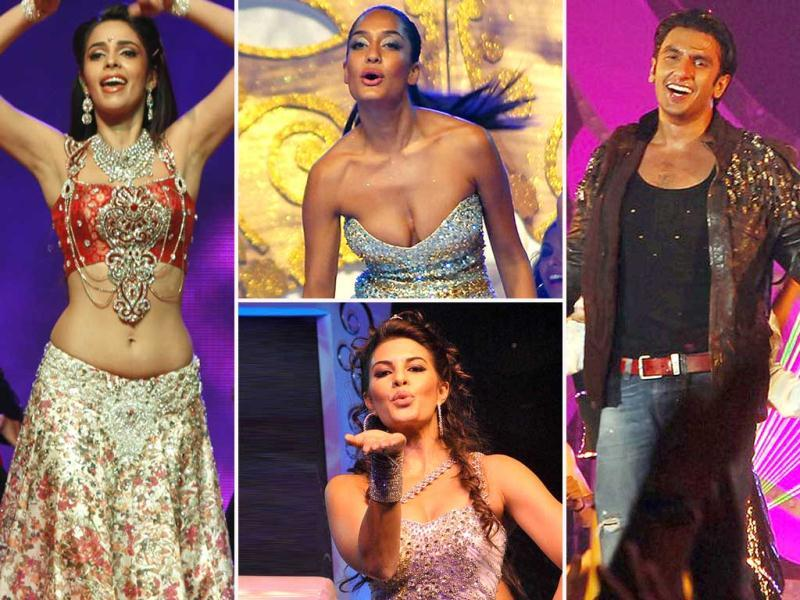 Hot Mallika Sherawat burnt the dance floor with her sexy thumkas. Murder girl Jacqueline Fernandes killed all with her oomph. Rascals girl Lisa Haydon and Ranveer Singh hardly lagged behind. Check out the celebs in action.