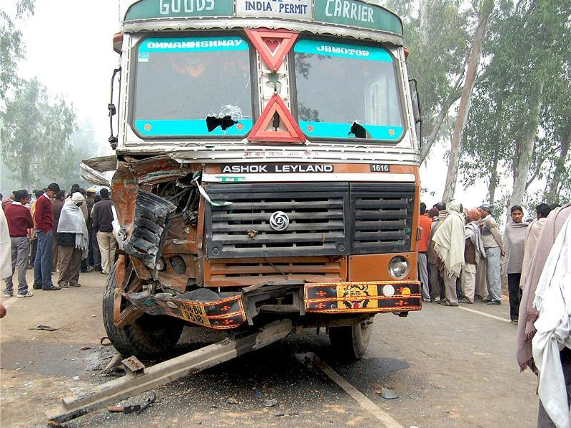 The damaged truck which collided with a school bus in Ambala claiming the lives of at least 10 children. PTI Photo