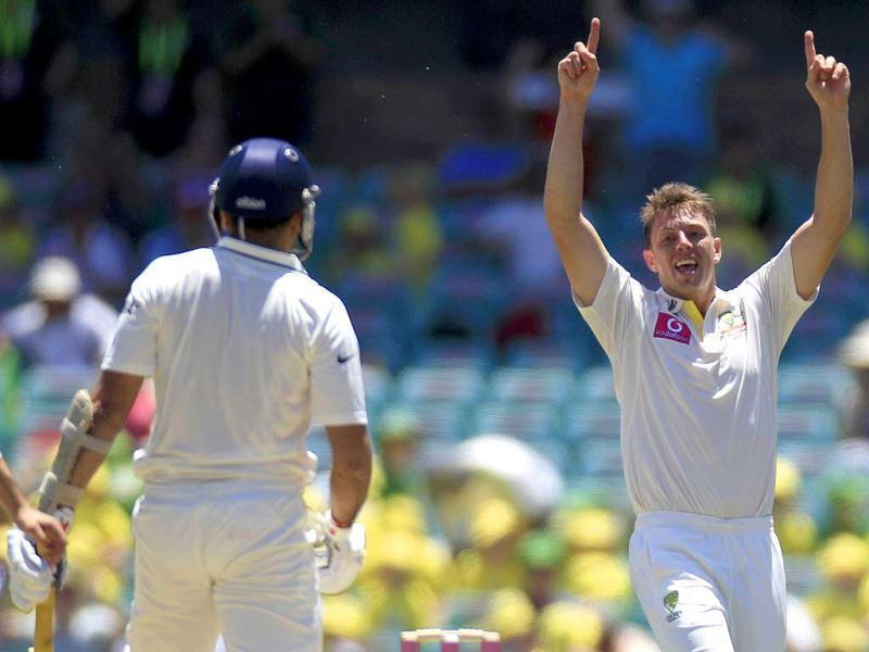 James Pattinson celebrates after taking the wicket of VVS Laxman for 2 runs in their cricket Test match at the Sydney Cricket Ground in Sydney. AP