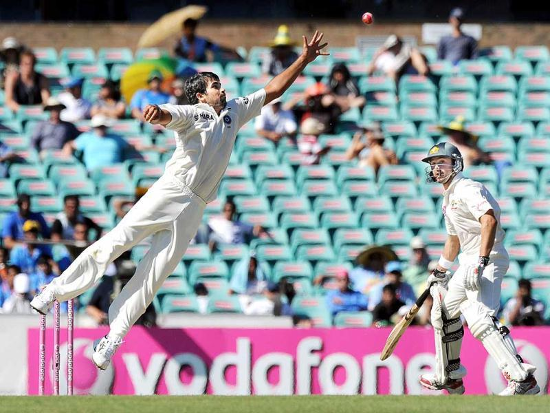 Zaheer Khan leaps to try and catch out Australian batsman Ricky Ponting as Ed Cowan returns to his crease during the second cricket Test and the 100th Test at the Sydney Cricket Ground. AFP