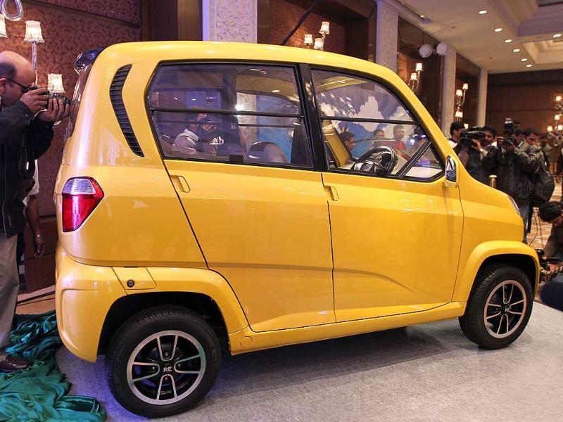 The newly launched Bajaj's first-ever four-wheeled vehicle RE60 is pictured in New Delhi. HT Photo/ Arvind Yadav