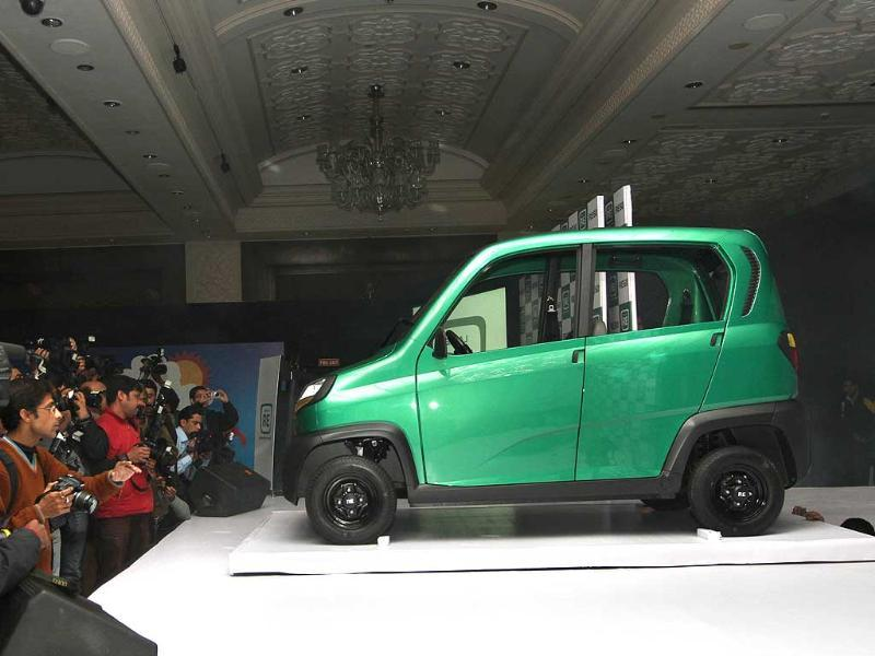 The newly launched Bajaj's first-ever four-wheeled vehicle RE60 is pictured in New Delhi. HT Photo/Arvind Yadav