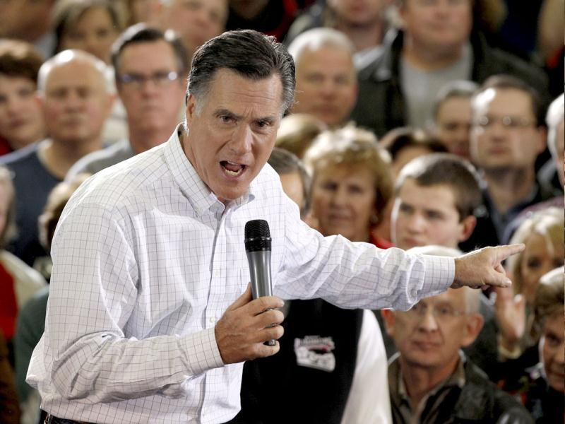Republican presidential candidate former Massachusetts Gov. Mitt Romney speaks during a campaign stop in Clive, Iowa. AP Photo/Charlie Riedel