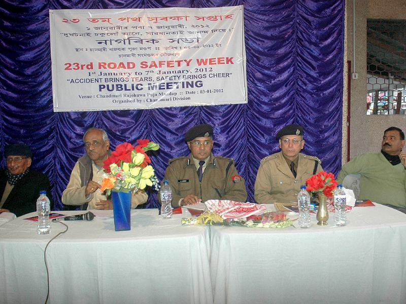 Police officials at a public meeting during the 23rd road safety week organised by Assam Police in Guwahati.