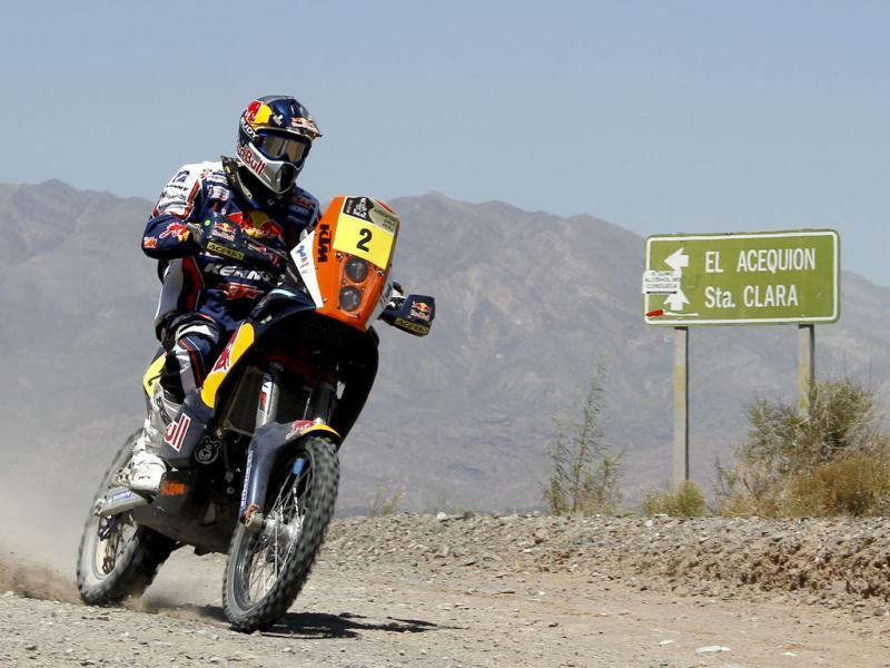 France's biker Cyril Despres races his KTM in the third stage of the 2012 Argentina-Chile-Peru Dakar Rally between San Rafael and San Juan, Argentina. (AP Photo)