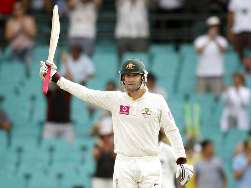 Australia's captain Michael Clarke celebrates 250 runs during the second cricket test against India, at the Sydney Cricket Ground. (Reuters)