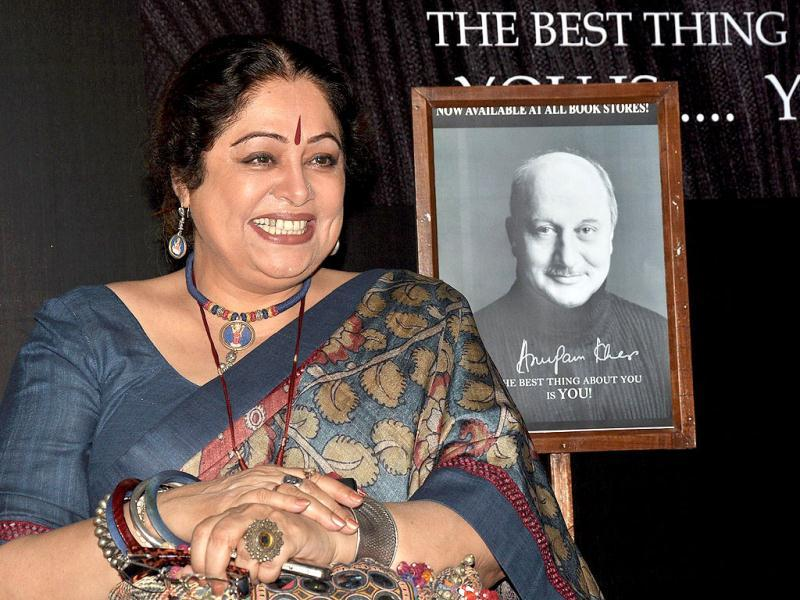 Kiron Kher, Anupam's wife on the book launch in Mumbai on Jan 3.