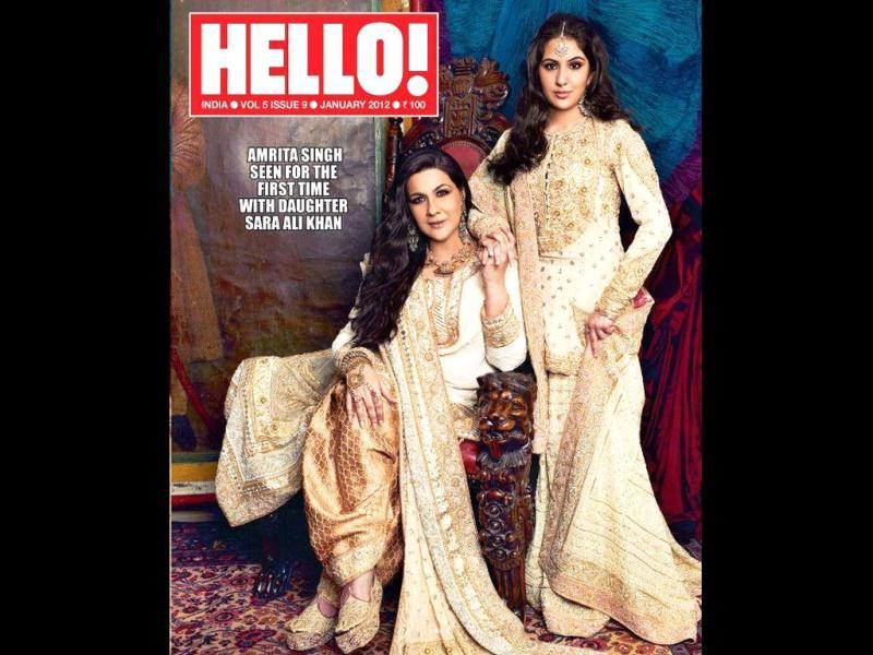 Actor Amrita Singh with daughter Sara Ali Khan on Hello's cover. The mother-daughter duo will be seen for the first time together for a photo shoot.
