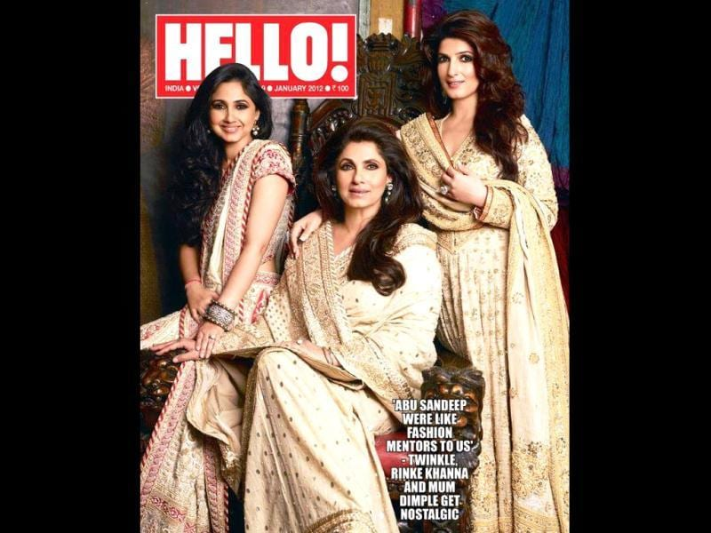 The gorgeous Dimple Kapadia poses with daughters Twinkle Khanna and Rinky Khanna for Hello magazine.