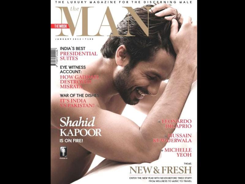 Shahid Kapoor in bare chest on The Man's cover.