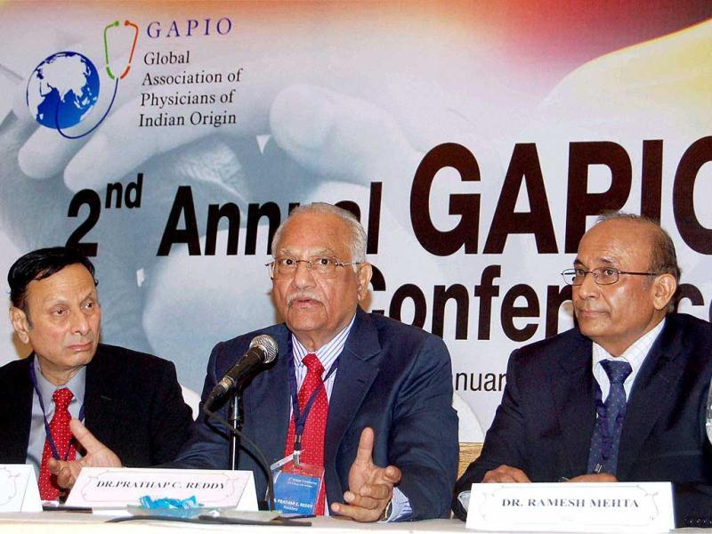 Prathap C Reddy, chairman, Apollo Hospitals Group with Sanku Rao (L), vice president, GAPIO and Ramesh Mehta, secretary general, GAPIO, addressing a press conference regarding the 2nd annual Global Association of Empower Physicians of India Origin conference on improving health globally in Hyderabad. PTI Photo