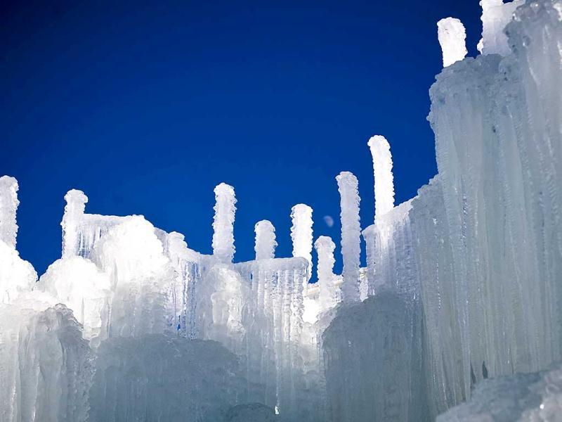 Ice formations at the ice castles in Silverthorne, Colorado. The ice castles consist of man-made walkways, tunnels, and arches of ice with no supporting structures, some reaching up to a height of 30 to 40 feet. Reuters/Nathan W Armes