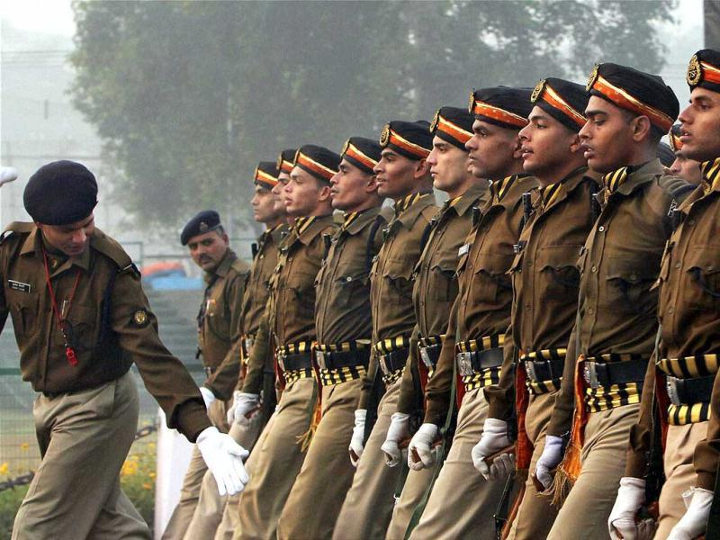 CISF jawans rehearsing for the 63rd Republic Day parade at Rajpath in New Delhi. PTI Photo