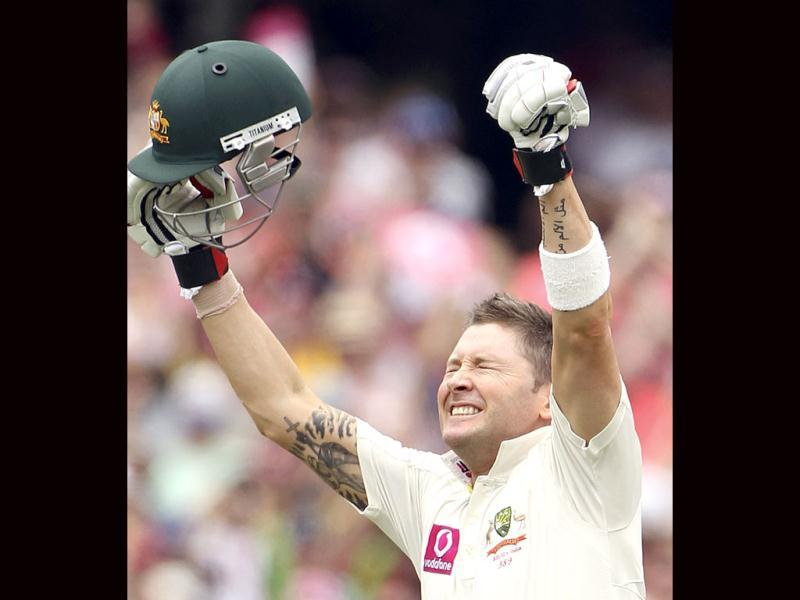 Australia's captain Michael Clarke celebrates after he hit a triple century on the third day of the second test match at the Sydney Cricket Ground in Sydney, Australia.(AP Photo)