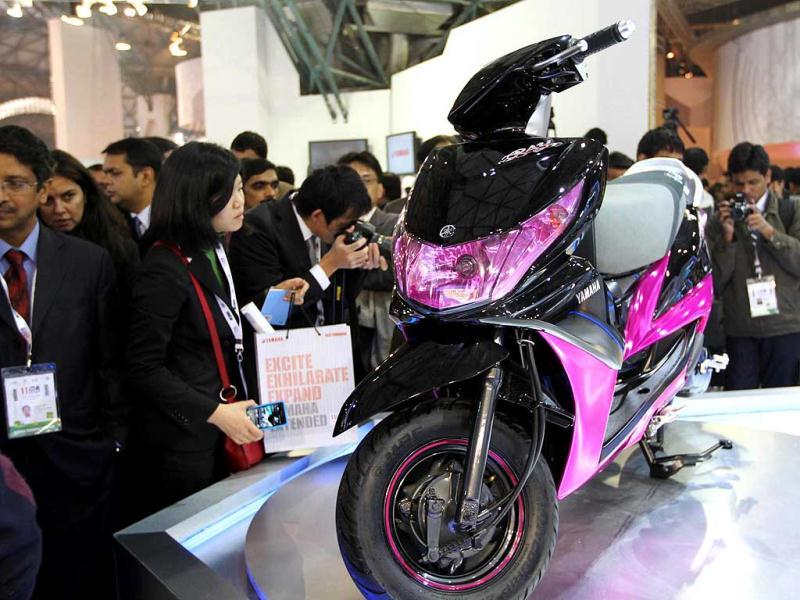 A new model of Yamaha bike was launched at Auto Expo 2012 at Pragati Maidan in New Delhi. HT Photo/Arvind Yadav