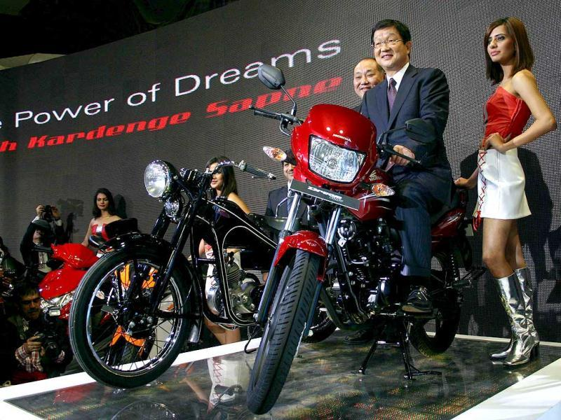 Honda unveils two new models of motorcycles at Auto Expo 2012 at Pragati Maidan in New Delhi. Agency photo