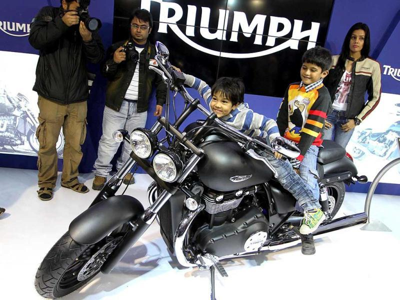 British bike-maker Triumph has entered the Indian market with the launch of seven models at Auto Expo 2012 in New Delhi, priced between Rs 5.5 lakh and Rs 22 lakh. HT Photo/Arvind Yadav