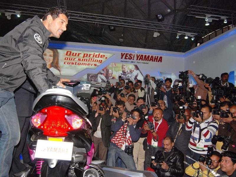 John Abrahim launching the Yamaha's new bike at 11th Auto Expo 2012 in Pragati Maidan, New Delhi. Agency photo