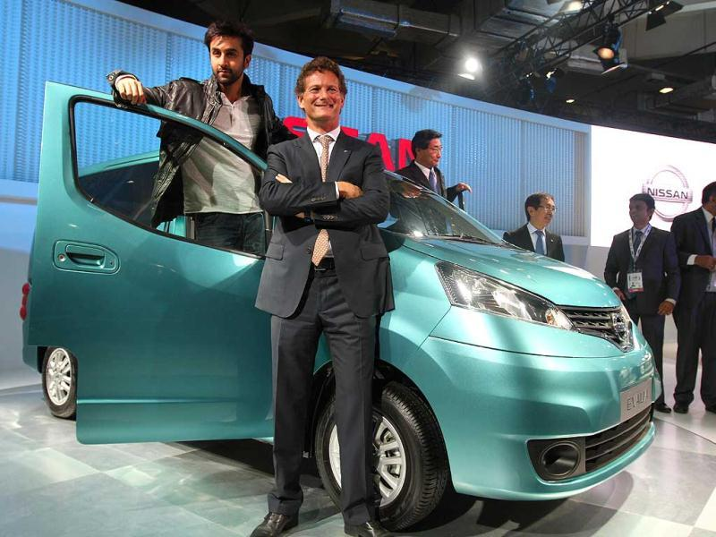 Ranbir Kapoor at the Nissan car launch during the 11th Auto Expo at Pragati Maidan in New Delhi. HT Photo by Jasjeet Plaha