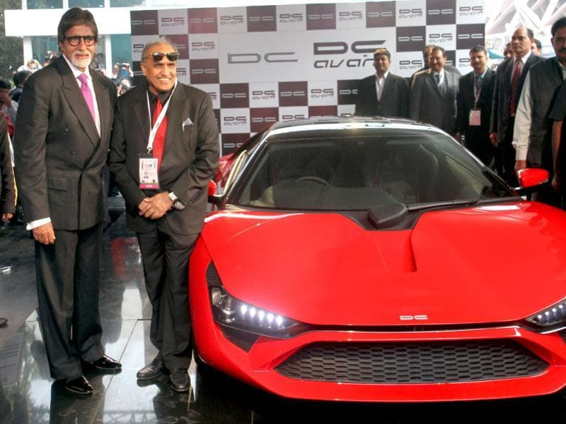 Amitabh Bachchan with Dilip Chabaria launch the DC Avanti a modified car in New Delhi on Jan 5.