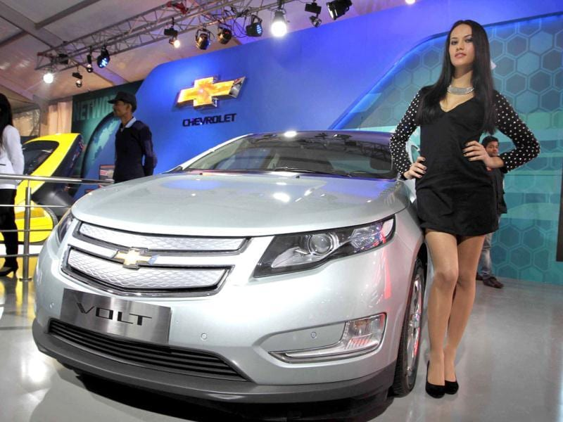 Volt of General Motors is put on display at the 11th Auto Expo, at Pragati Maidan, New Delhi. (Arvind Yadav/HT)