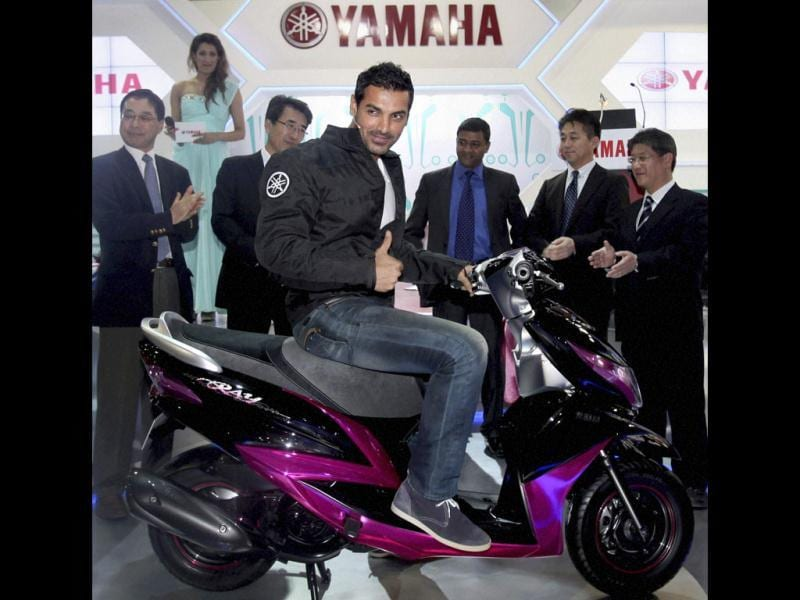 Bollywood hunk John Abraham, who is the brand ambassador for Yamaha motors, unveiled a girls scooty, a maiden venture by the company.