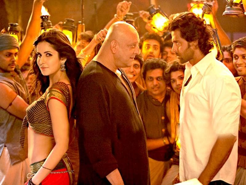 Sanjay Dutt, Hrithik Roshan and Katrina Kaif in a still from the song Chikni Chameli.