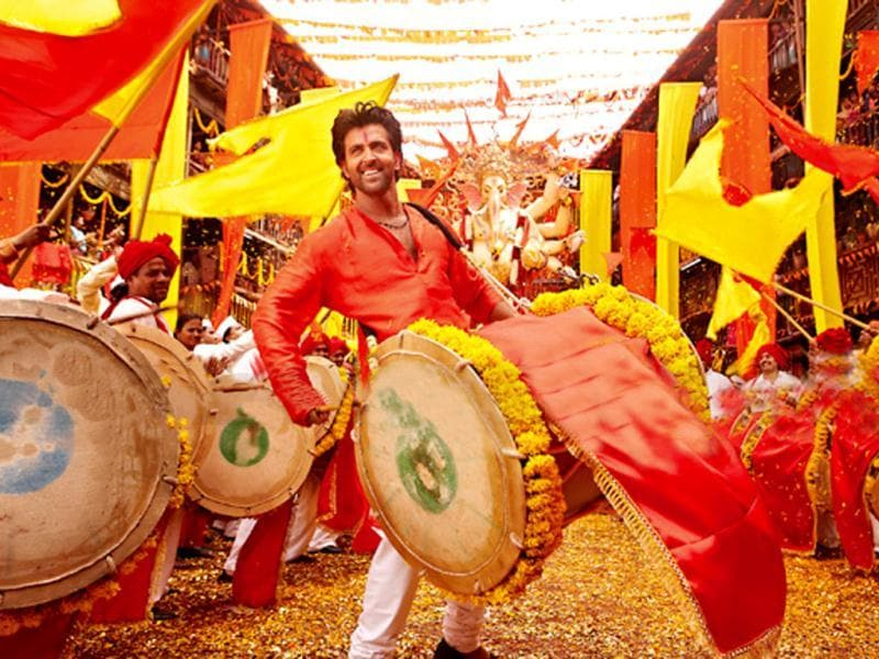 Hrithik Roshan playing a dhol in this still from Agneepath.