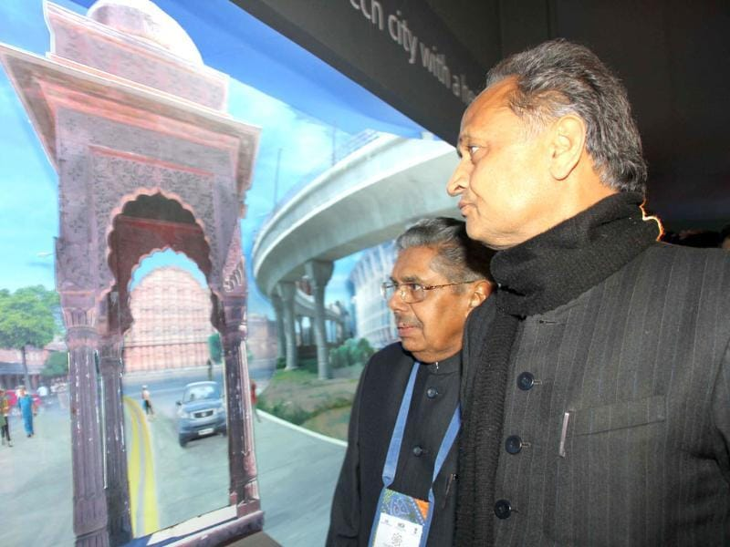 NRI affairs minister Vayalar Ravi and Rajasthan chief minister Ashok Gehlot visit the Modern Rajasthan Exhibition at the inauguration of the 10th Pravasi Bharatiya Divas, in Jaipur.