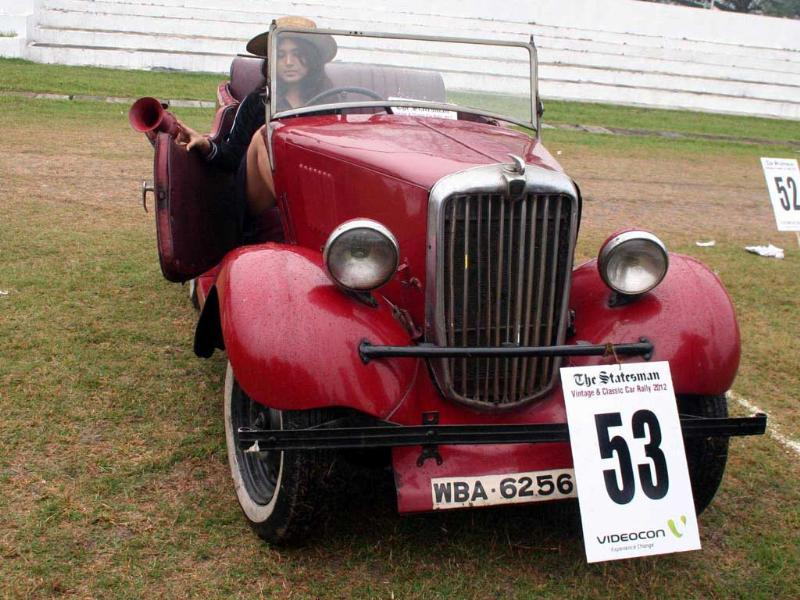 A vintage car at the Statesman Vintage and Classic Car Rally at the Eastern Command Sports Stadium in Kolkata. Agencies