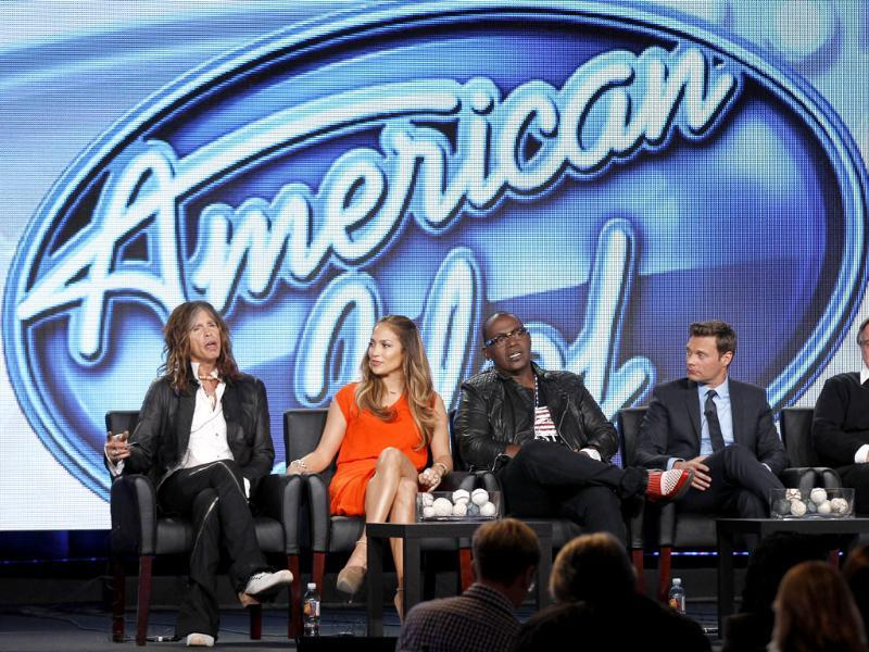 (L to R) Steven Tyler, Jennifer Lopez, Randy Jackson and Ryan Seacrest participate in the American Idol panel at the Fox Broadcasting Company Television Critics Association Winter Press Tour in Pasadena. (AP Photo/Danny Moloshok)