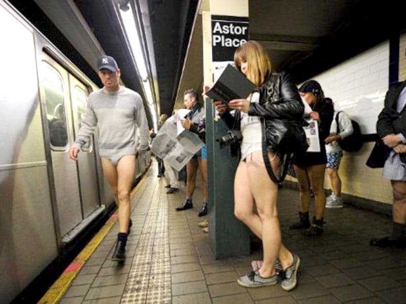 Some riders in the New York City subway in the underwear as the take part in the 2012 No Pants Subway Ride. Started by Improv Everywhere, the goal is for riders to get on the subway train dressed in normal winter clothes (without pants) and keep a straight face. AFP PHOTO / Timothy A Clary