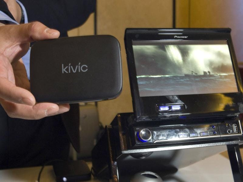 A Kivic One is displayed during CES Unveiled. The new device, available in March, streams video from a smart phone to other devices, like a vehicle video player. REUTERS