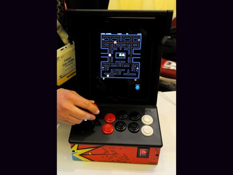 The video game Pac-Man is played on an iCade by Ion Audio during a press event at The Venetian for the 2012 International Consumer Electronics Show (CES) January 8, 2012 in Las Vegas, Nevada. Users can play video games on their iPads using the device. Getty Images