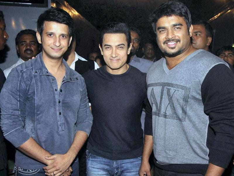 Three Idiots: (From Left to Right): Sharman Joshi, Aamir Khan and R Madhavan.
