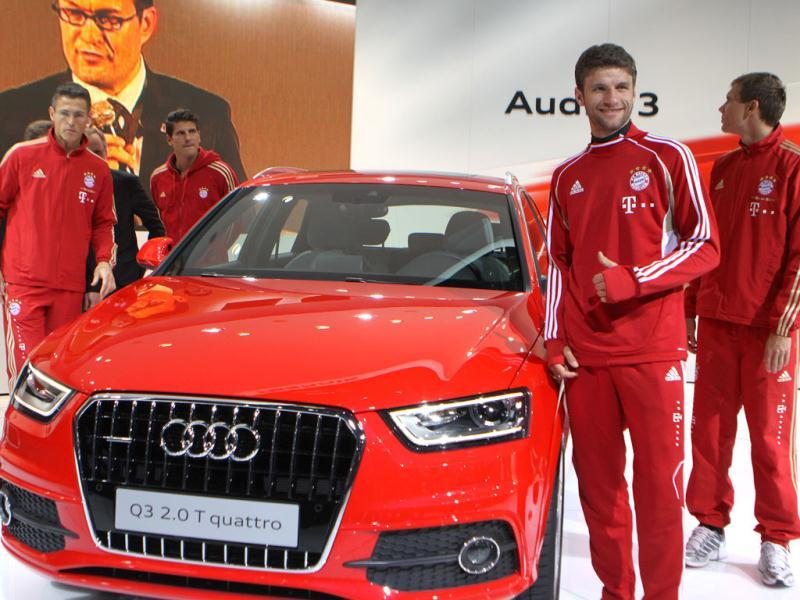 Soccer players Jorg Butt, Mario Gomez Thomas Muller and Holger Badstuber of Germany's Bayern Munich during their visit to the Audi pavilion at the Auto Expo in New Delhi. HT Photo/Sonu Mehta