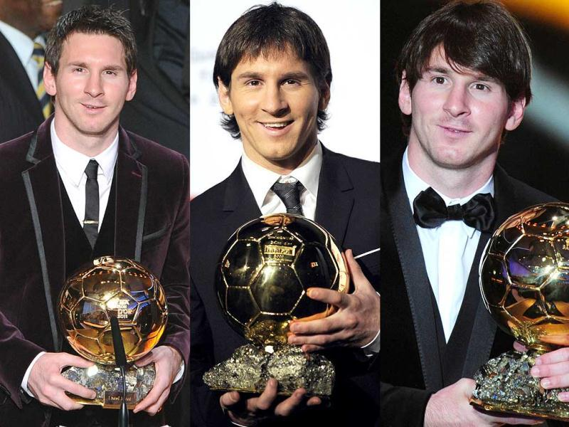 This combo shows Barcelona's Argentinian forward Lionel Messi with the Ballon d'Or trophy (From L) at the Kongresshaus in Zurich, on December 6, 2009 in Boulogne-Billancourt, outside Paris and on January 10, 2011 at the Kongresshaus in Zurich. Lionel Messi won the Ballon D'Or for the second successive year beating his more favoured Barcelona team-mates Andres Iniesta and Xavi Hernandez. AFP PHOTO