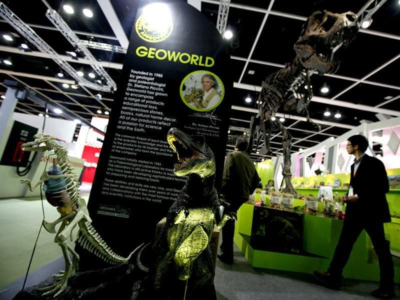 Toy fossils and dinosaurs are displayed at an Italian toy maker booth during the Toys & Games Fair in Hong Kong. AP Photo
