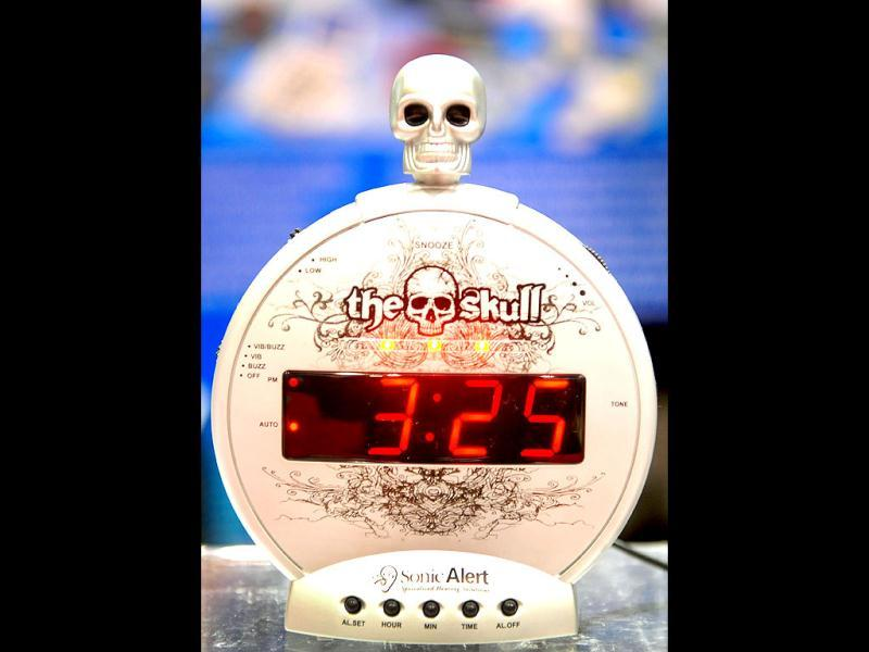 The Skull Sonic Alert, touted as extra loud alarm clock with MP3 music input for MP3 and iPod is displayed on the opening day of the International Consumer Electronics Show in Las Vegas, Nevada. AFP/ Frederic J Brown