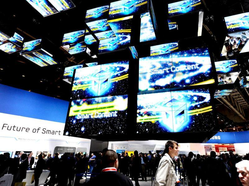 A general view of the Samsung Electronics booth at the 2012 International Consumer Electronics Show at the Las Vegas Convention Center. Ethan Miller/Getty Images/AFP